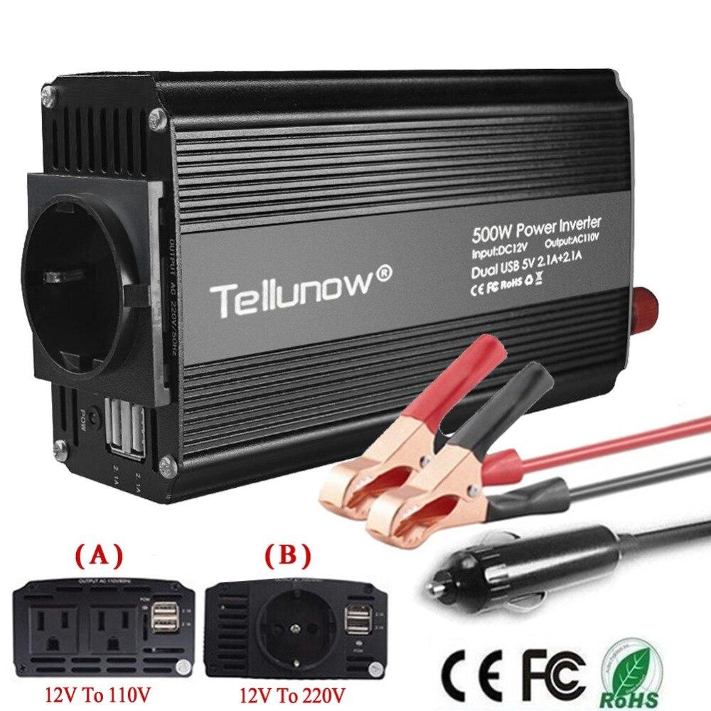 500 w de Potência Do Inversor DC 12 v a 110 v/220 v AC Car Inverter com 4.2A Dual USB adaptador Transformador de Tensão de alimentação do carro Conversor de Energia Mudo
