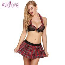 3b190995e Avidlove Sexy Lingerie Erótica Cosplay Uniforme Estudante Lingerie Preta  Perspectiva Bra + Saia Xadrez Vermelha Mulheres Sexy Tr..