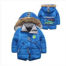 Thick Winter children jackets  Boys Coats Hooded Faux Fur Collar Kids Outerwear Cotton Padded Baby Boy Snowsuit 2-5T