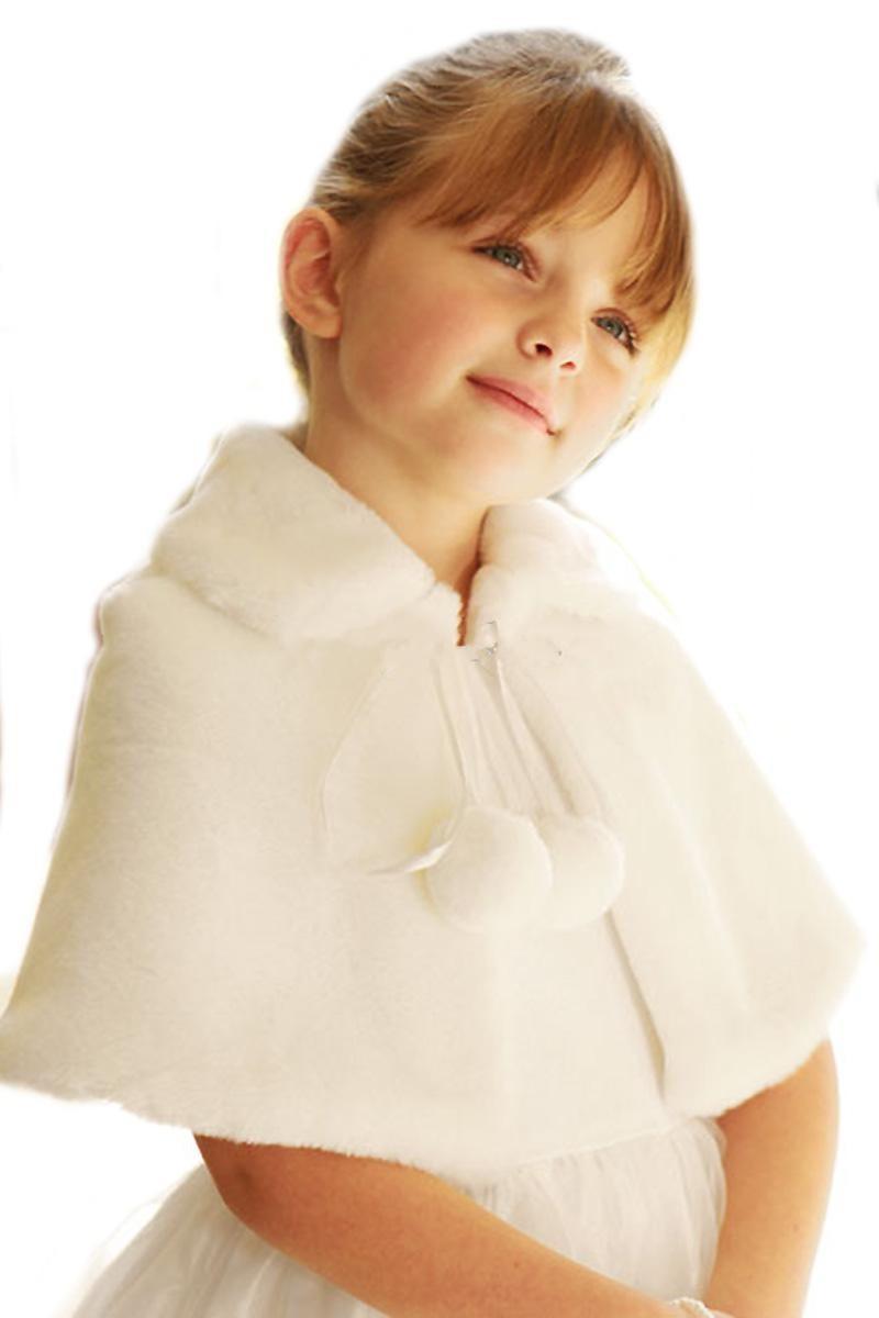 mignon ivoire blanc de noce fleur fille en fausse fourrure voleacute wraps cape enfants automne - Tole Blanche Mariage