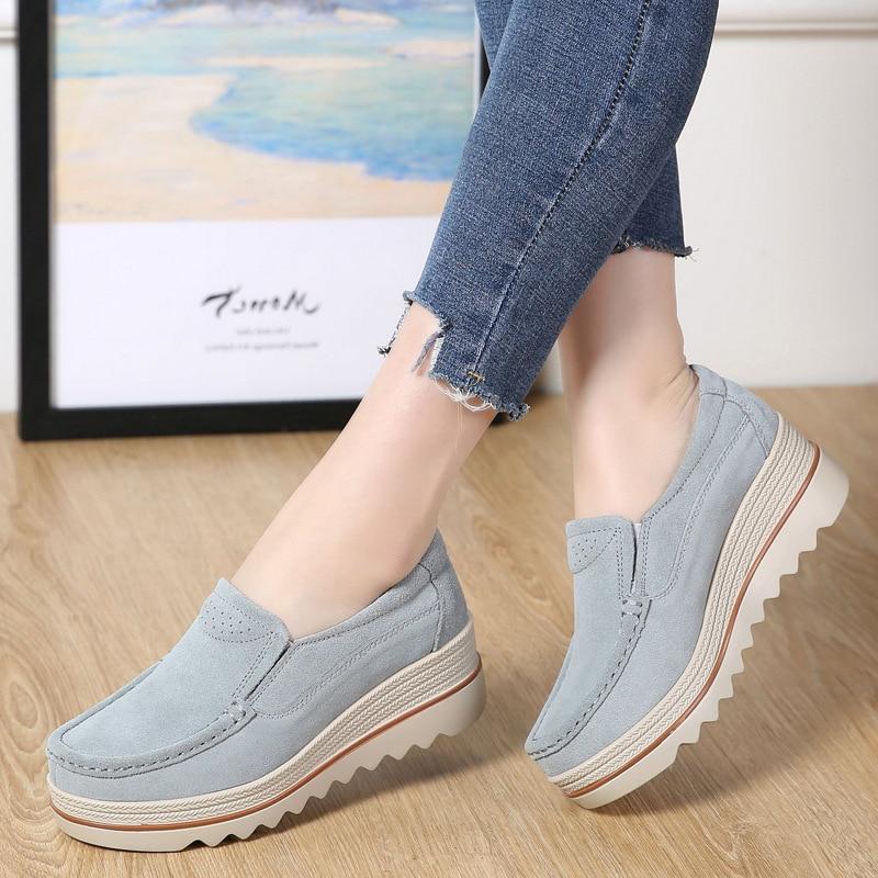 Sneakers Women Newest Women Vulcanize Shoes tenis feminino Plus Size Genuine Leather Shallow Women Casual Shoes platform sneaker