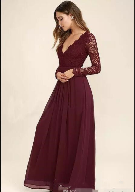 Long Sleeves Western Country Style V Neck Backless Long Beach Lace Top Wedding Party gown Burgundy Chiffon Bridesmaid Dresses