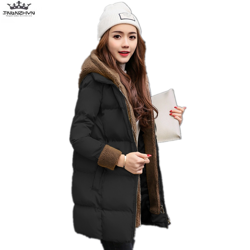 tnlnzhyn 2017 New Winter Women Coats Women Slim Casual Hooded Medium long Down Cotton Jacket Female Warm Winter Jackets Y739 new winter light down cotton coat women long design hooded jackets casual slim warm jacket coats parkas female outwear qh0454