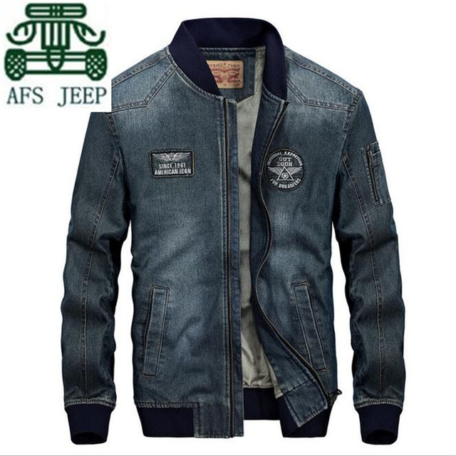 AFS JEEP Dark Blue/Sky Blue Man's O-neck Collar Man's Vintage Retro Denim Casual Jacket,Fleece Inner Winter Mans Brand Outwear