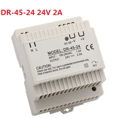 DR-45-24 LED Din Rail mounted Power Supply Transformer 110V 220V AC to DC 24V 2A 45W Output dr 240 din rail power supply 240w 48v 5a switching power supply ac 110v 220v transformer to dc 48v ac dc converter