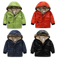 children's winter clothing child plus velvet wadded jacket baby winter outerwear thickening male child solid color Pure color