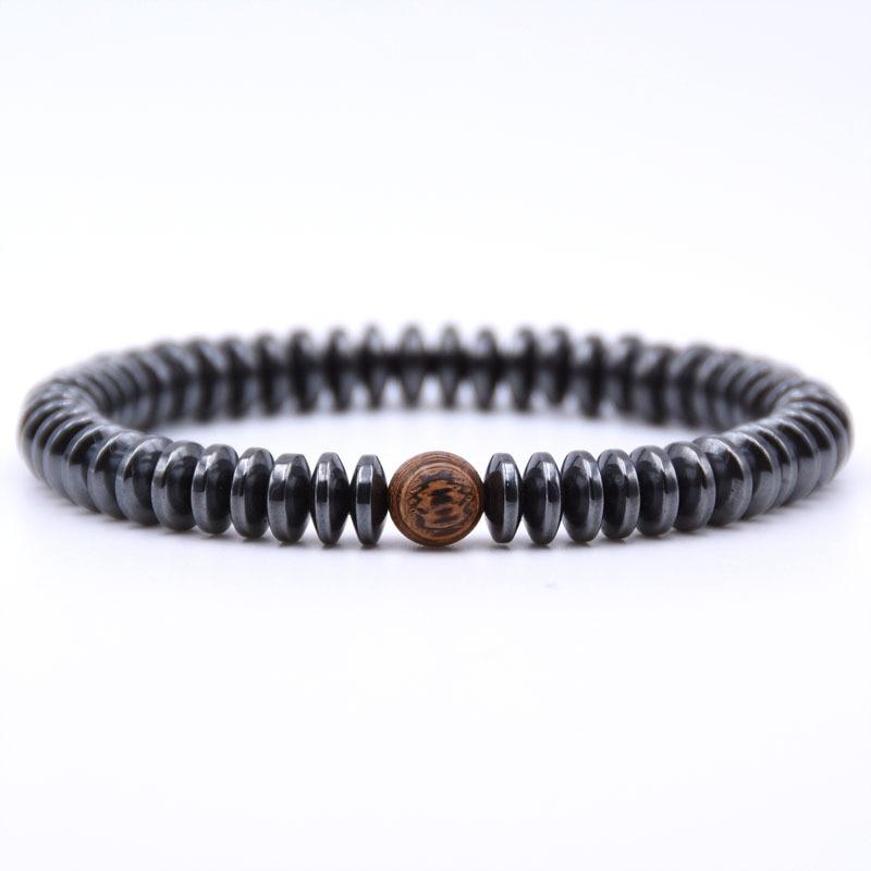 NIUYITID Hematite Bracelet Men\` Jewelry European Fashion Elastic Rope Braclet Women Accessories Charm High Quality (11)