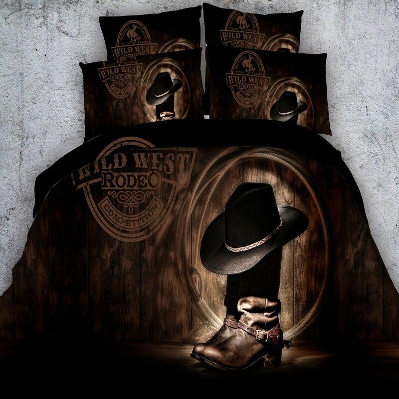3D Bedding Sets Modern font b Cowboy b font Hat font b Boots b font Bedding