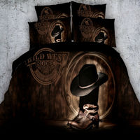 3D Bedding Sets Modern Cowboy Hat Boots Bedding Brown Reactive Printing Duvet Cover Bed Linens Twin Queen King Size For Boys