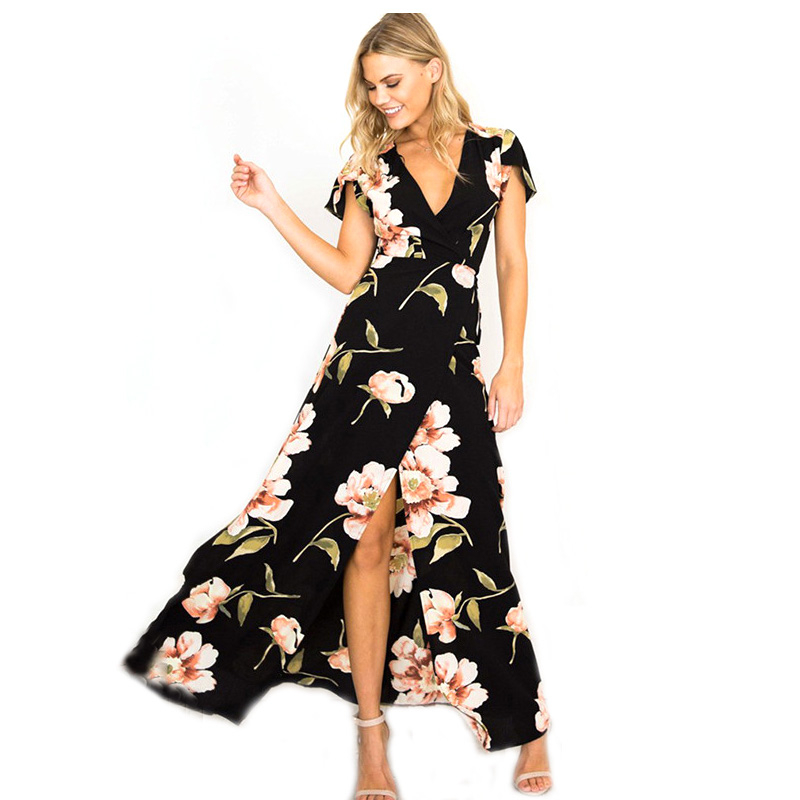 2018 New Summer Long Dress Floral Print Boho Beach Dress Sexy Front Split Dress Women Party Sundress Vestidos Ladies KH704813