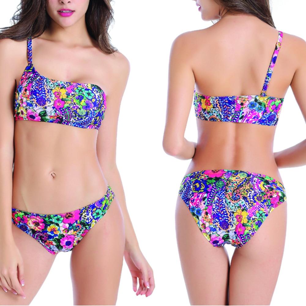 ФОТО HWHot Swimwear Bandage Bikini Single Strap Bikini Set Padded Bra Swimsuit Swimwear Bathing Suit Sexy Women new brand