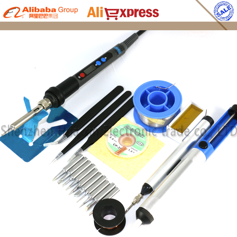Precision Backlight Digital LCD Adjustable Electric soldering iron kit Regulatable Welding tool ESD Soldering station 220V 90W цена