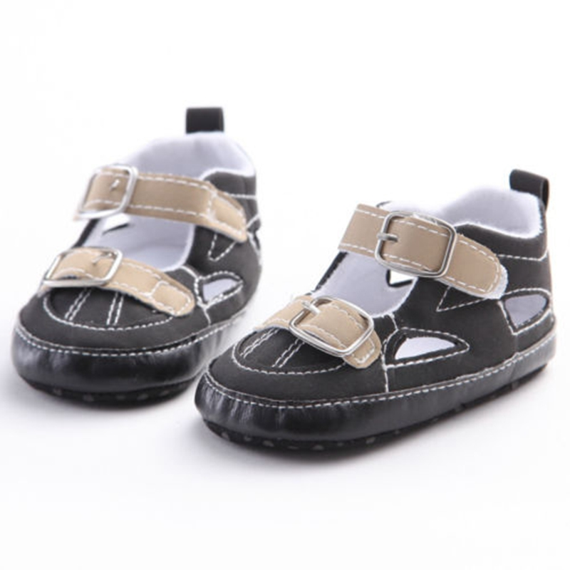 Cute Toddler Newborn Infant Kids Baby Boy New Fashion Casual Solid Soft PU Hook Shoes Summer Sandals 0-18M Hot