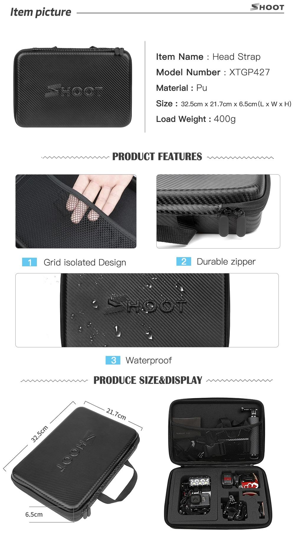 SHOOT Action Camera Accessory for GoPro Hero 7 6 5 4 Black Xiaomi Yi 4K Lite 2 SJCAM SJ7 Eken H9 Go Pro Mount for Sony Nikon Set