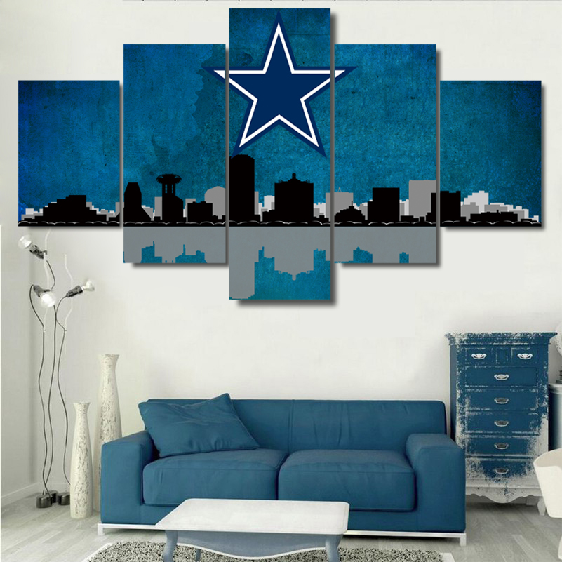 Dallas Cowboys City Skyline impresiones de lienzo pintura Wall ART 5 ...
