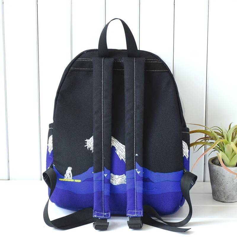 Image 3 - Lua de madeira design original preto azul impressão mar lua  mochila lona ocasional das mulheres sacos escola para adolescentes  meninas sacbackpack school bagschool bag for teenagerbags for  teenager
