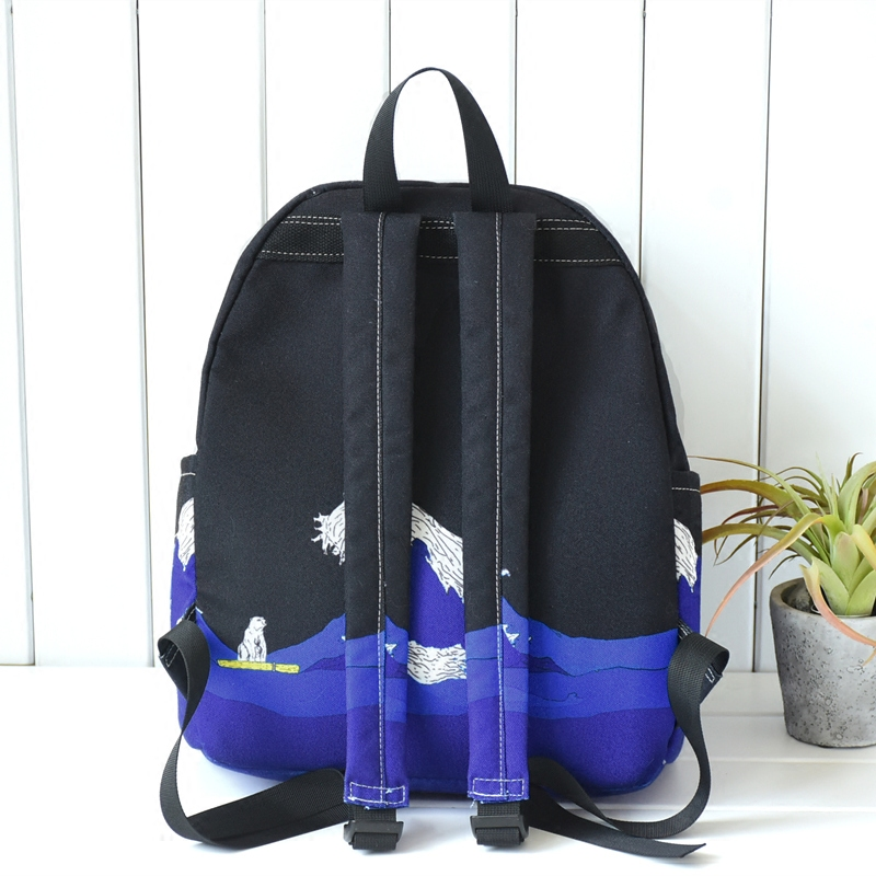 fc6441c35b Moon Wood Original Design Black Blue Print Sea Moon Backpack Women Casual  Canvas Backpack School Bags For Teenager Girls Sac-in Backpacks from  Luggage ...