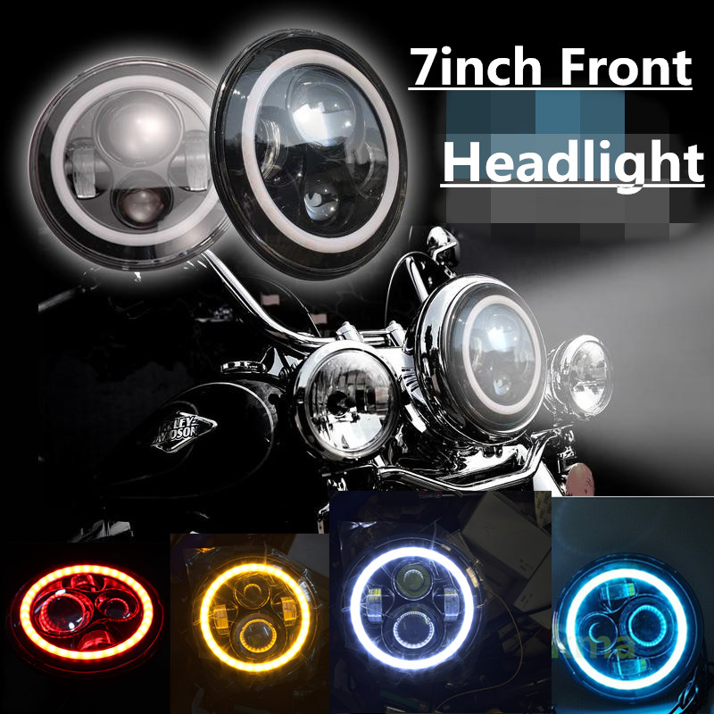 ФОТО Motorcycle 7Inch Headlights Projector Daymaker LED Headlight Angle Eye H4 H13 Harness White Halo Headlamp For Harley Daviddson