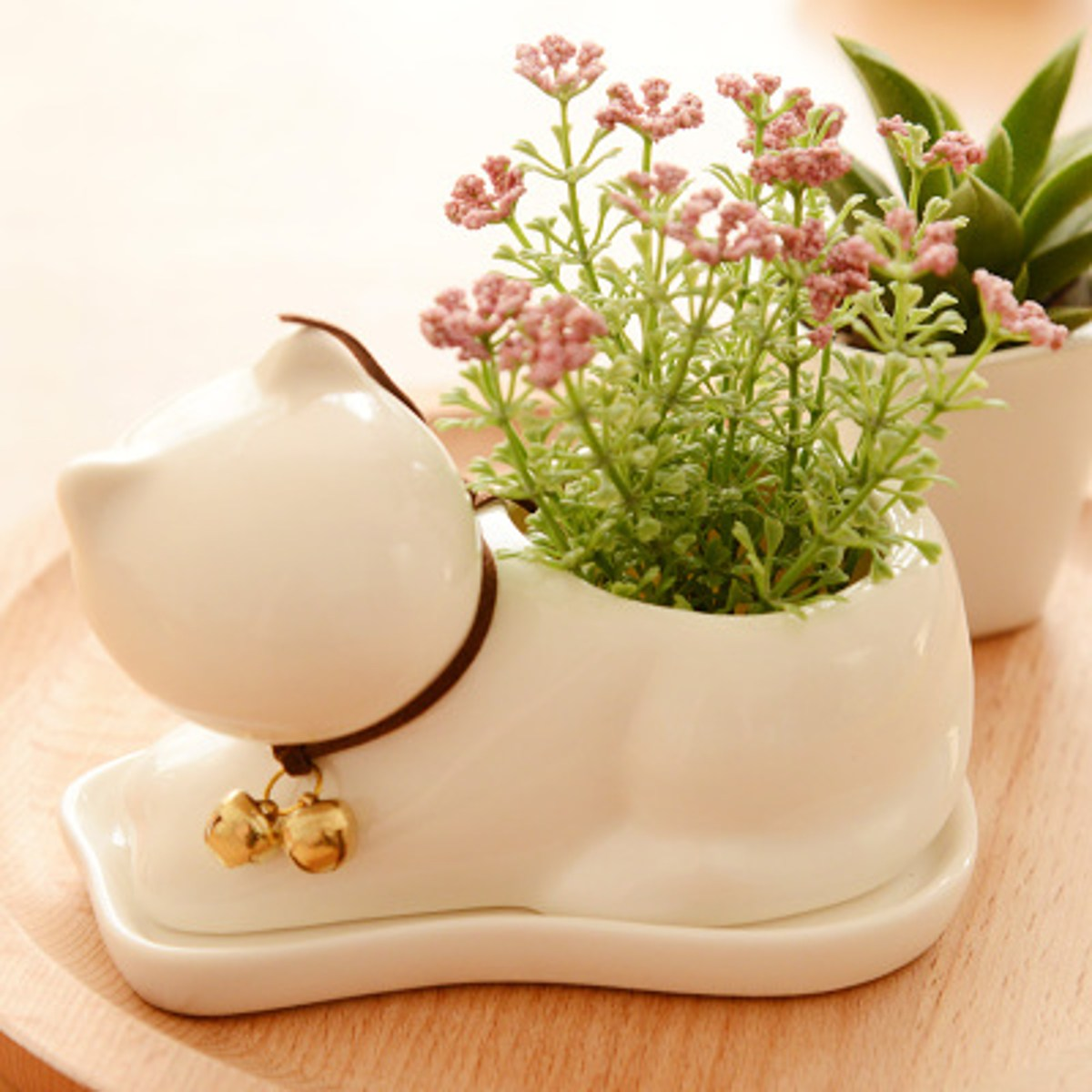 Glazed Ceramic Cat Shape Succulent Bonsai Plants Flowers Pot Planter Nursery Pot Box Garden Office Desktop Decoration Gifts