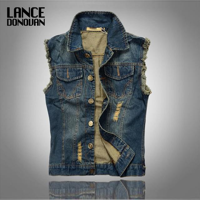 Plus size 6XL/5XL/4XL/3XL/XXL/XL/L/M Denim vest men Hot sale New Spring-autumn men jean vest 2016 Korean style casual fashion