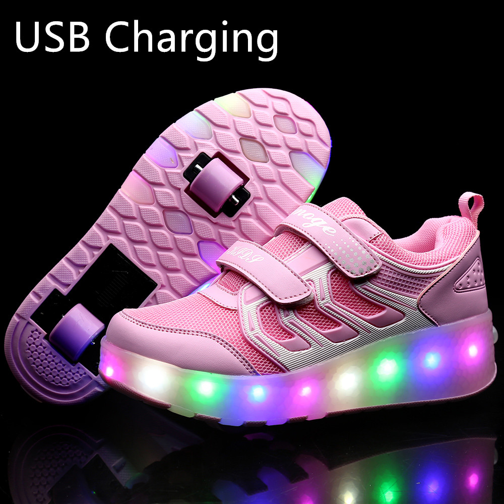 New Pink Orange USB Charging Fashion Girls Boys LED Light Roller Skate Shoes For Children Kids Sneakers With Wheels Two Wheels