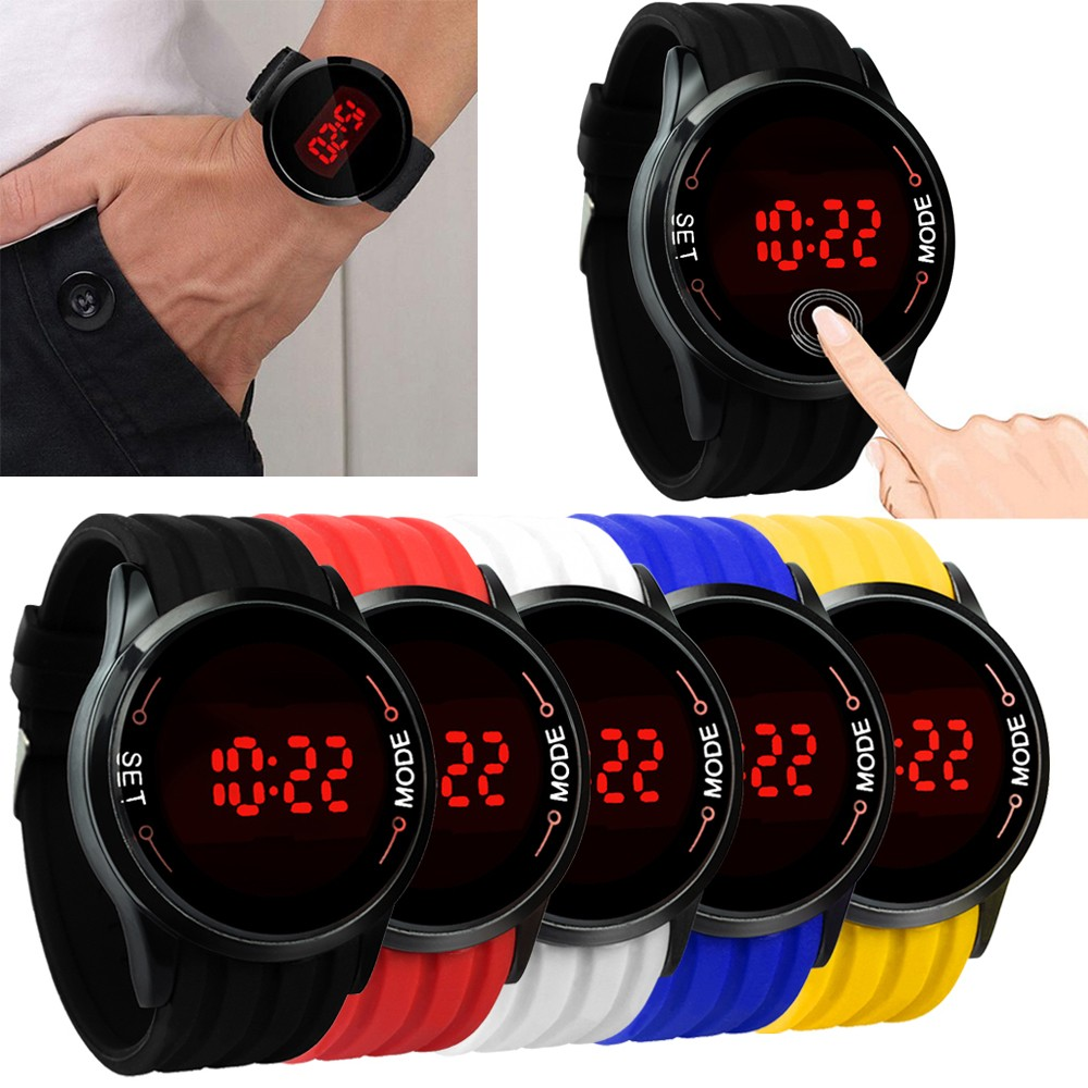 The latest Running mountaineering tourism outdoor Fashion Waterproof Mens Watch LED Touch Screen Date Silicone Wrist Black Watch