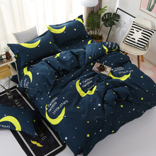 Simple bedding four-piece set of 1.8/2m quilt double 1.5m Bed Sheet single three-piece  comfortable childrens home textile