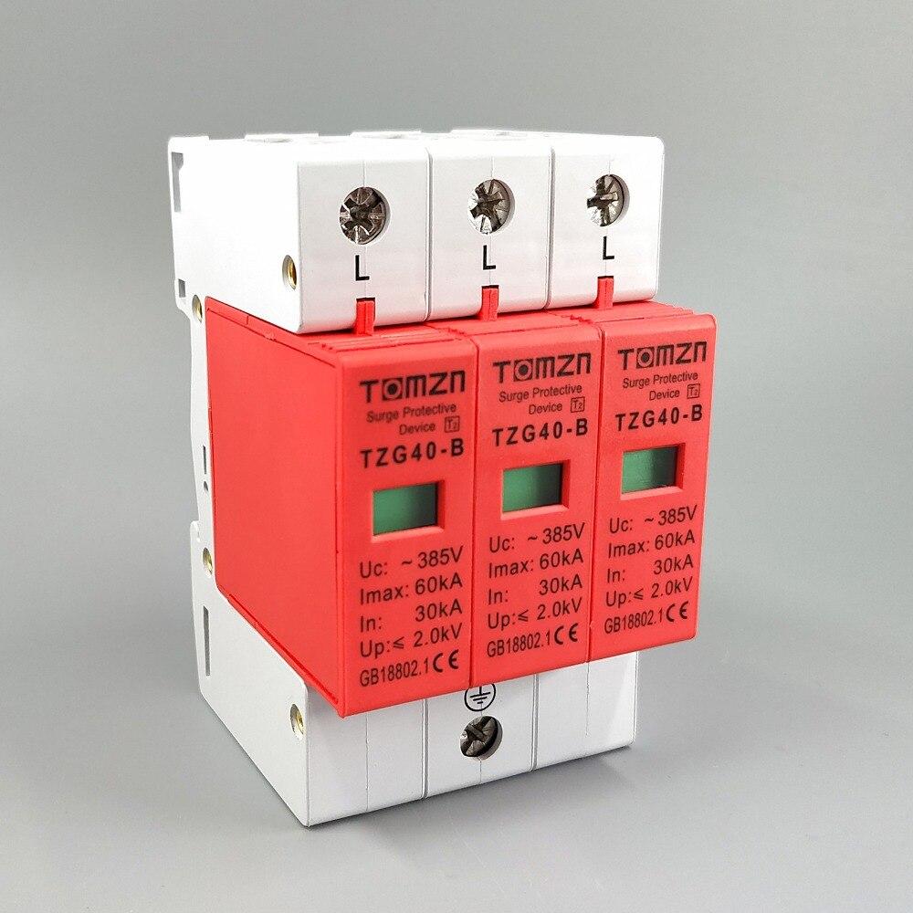 AC SPD 3P 30KA~60KA  B ~385VAC House Surge Protector Protective Low-voltage  Arrester DeviceAC SPD 3P 30KA~60KA  B ~385VAC House Surge Protector Protective Low-voltage  Arrester Device