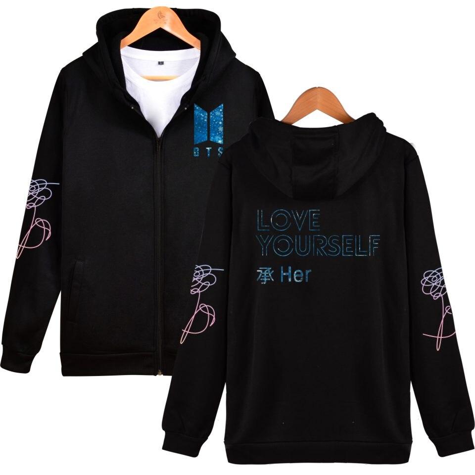 Popular Band BTS Love Yourself Zipper Hoodies Women Sweatshirt Bangtan Boys Female Hoodie Zipper 4XL Love Yourself Her Print