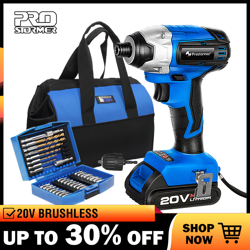 PROSTORMER 20V Electric Screwdriver Brushless Cordless Screwdriver Impact Drill 150NM Tool Bag Variable Speed Rechargeable Drill