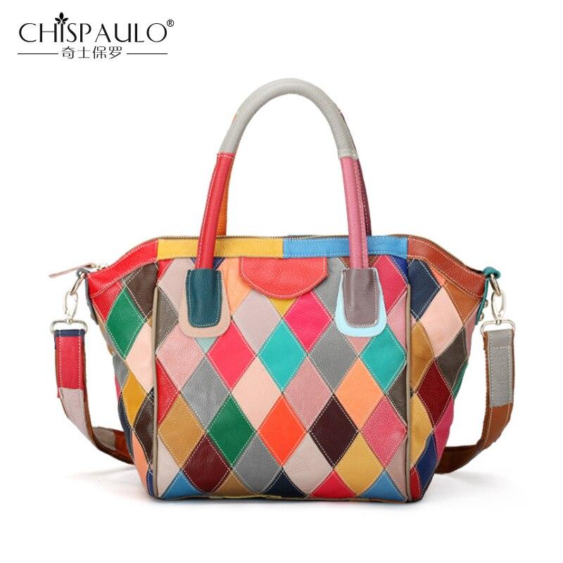 2018 Genuine Leather Women Bag Fashion Multicolor Patchwork Cow Leather Women Handbags High Quality Ladies Shoulder