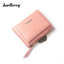 Baellery Fashion New Female Women's Wallet Elegant Multi-color Card Simple Style Buckle Patent leather Cute Small Purse Wallets(China)