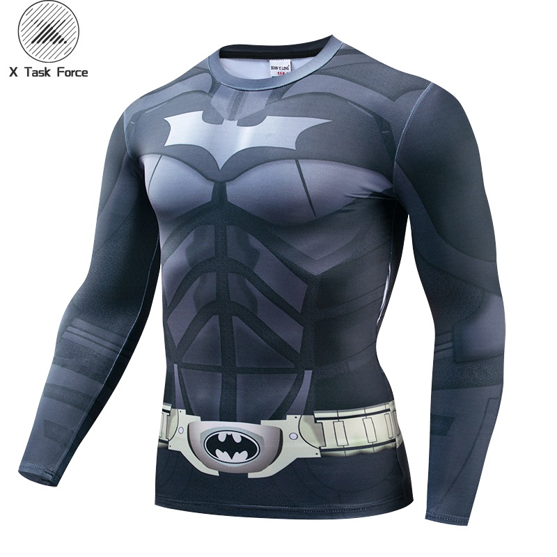 2019 NEW Flash Man Long Sleeve Batman Retro Spiderman Ironman Superman Captain America Xmen Marvel T Shirt Avengers Superhero