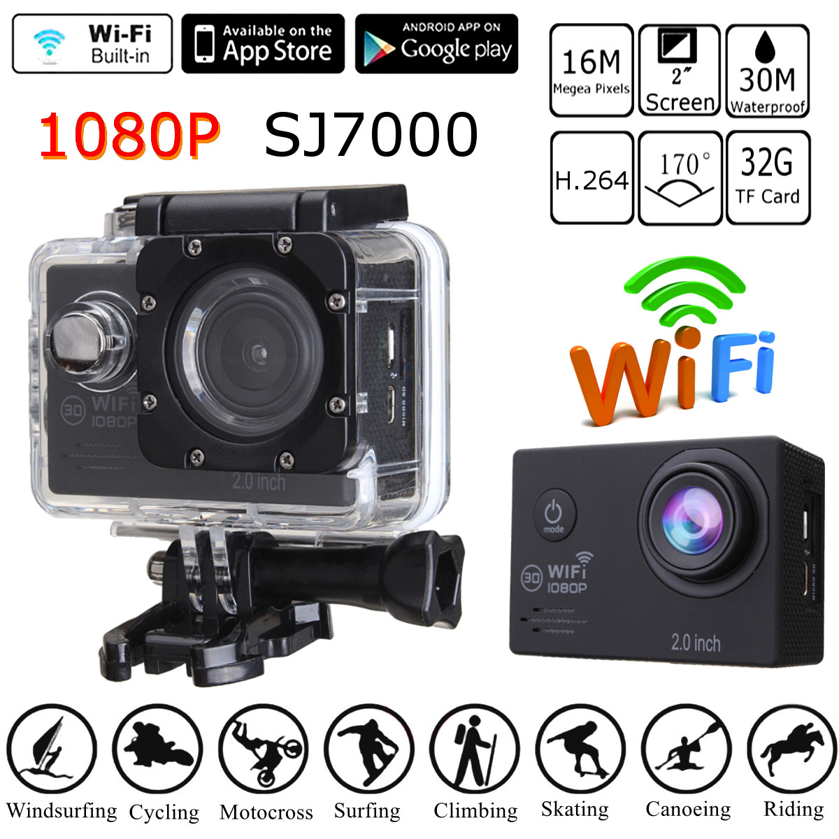 SJ7000K/SJ7000 2 Pouces Action Sports CameraWifi 16MP 4 K LCD 30 Mètre Étanche Ultra HD 1080 P Plongée DV 32 GB 170 Degrés Grand Angle