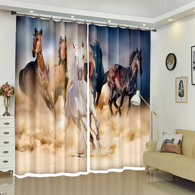 US $43.16 41% OFF|2018 New Office 3D Blackout Window Curtain Japan style  Brown Run Quickly Horse Pattern Polyester Bedroom Curtain for Living  Room-in ...