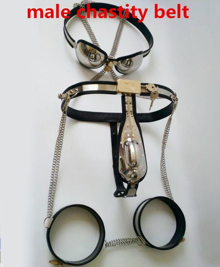 45c253818 حزام العفة منت نوع الفولاذ المقاوم للصدأ الذكور حزام العفة جهاز رجالي العفة  السراويل ، قفص الديك + القسطرة الجنس لعب للنساء