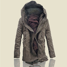 2018 New! England Fashion Long Hooded Parkas Men , High-end Quality Men's Brand Thick Warm Coat , Large Size Men's Loose Jacket