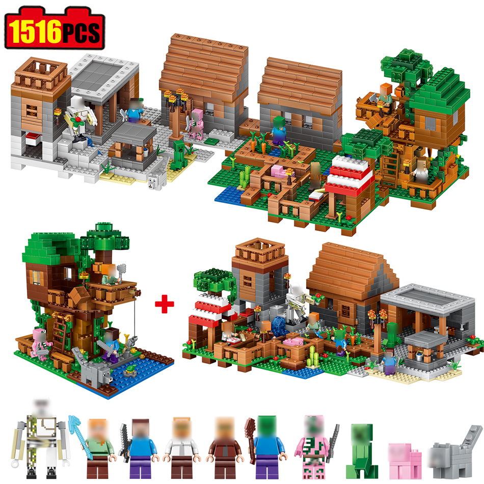 1516pcs Minecrafted model Town Group Building Block Compatible Legoed My World Village city Bricks Toy Gift hobbies for children lepin 22001 pirate ship imperial warships model building block briks toys gift 1717pcs compatible legoed 10210