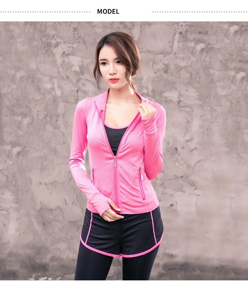 Женские топы для йоги, спортивная куртка с длинными рукавами, толстовки для фитнеса, Женская Спортивная одежда для бега, для девочек, куртка на молнии с шапкой