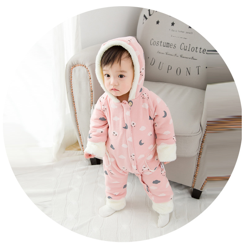 0-24M Baby rompers newborn baby clothing print fleece thicken Infant jumpsuit long sleeve cotton warm hooded baby clothing