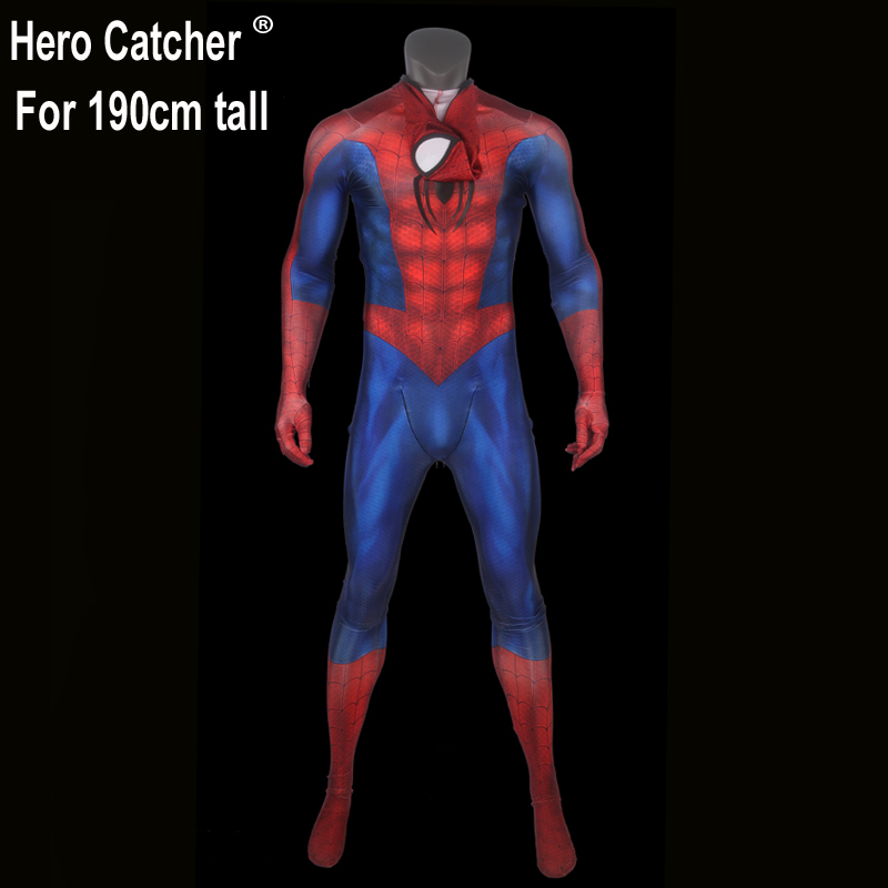 Hero Catcher Top Quality For 190cm Tall 3D Print Spiderman Costume Classic Spiderman Suit With Embossed Chest Logo