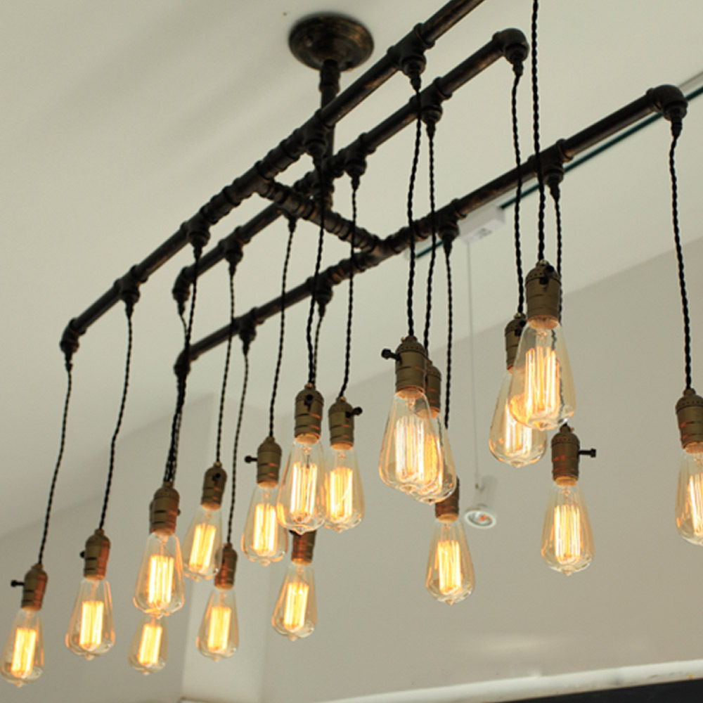 punk industrial style iron black pendant lights 18 heads e27 edison bulbs water pipe drop lamp. Black Bedroom Furniture Sets. Home Design Ideas