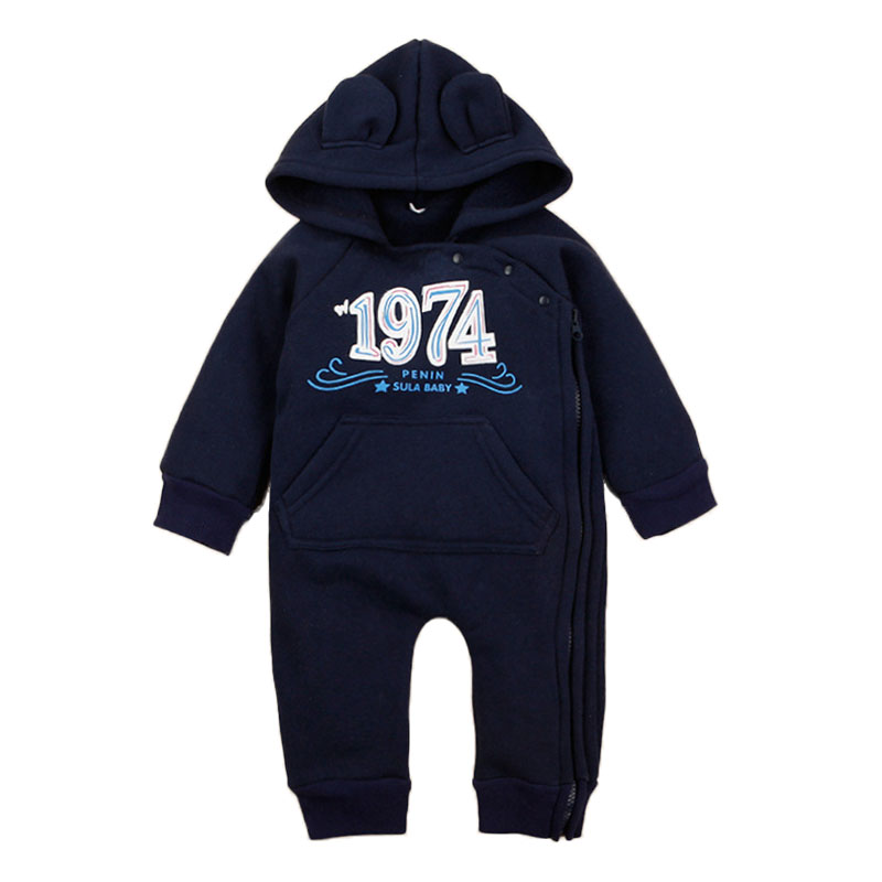 Newborn Baby Boy Clothing Fleece Winter Warm Long Sleeve Hooded Rompers Boys Girls Jumpsuit Fashion Overalls Children Outerwear cotton baby rompers set newborn clothes baby clothing boys girls cartoon jumpsuits long sleeve overalls coveralls autumn winter