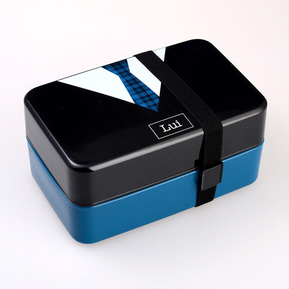 Контейнер Bento для обеда контейнеры для обедов кухонные принадлежности 730 мл двухслойный модный пластиковый Ланч Бокс портативный изолированный ланч - Цвет: 2