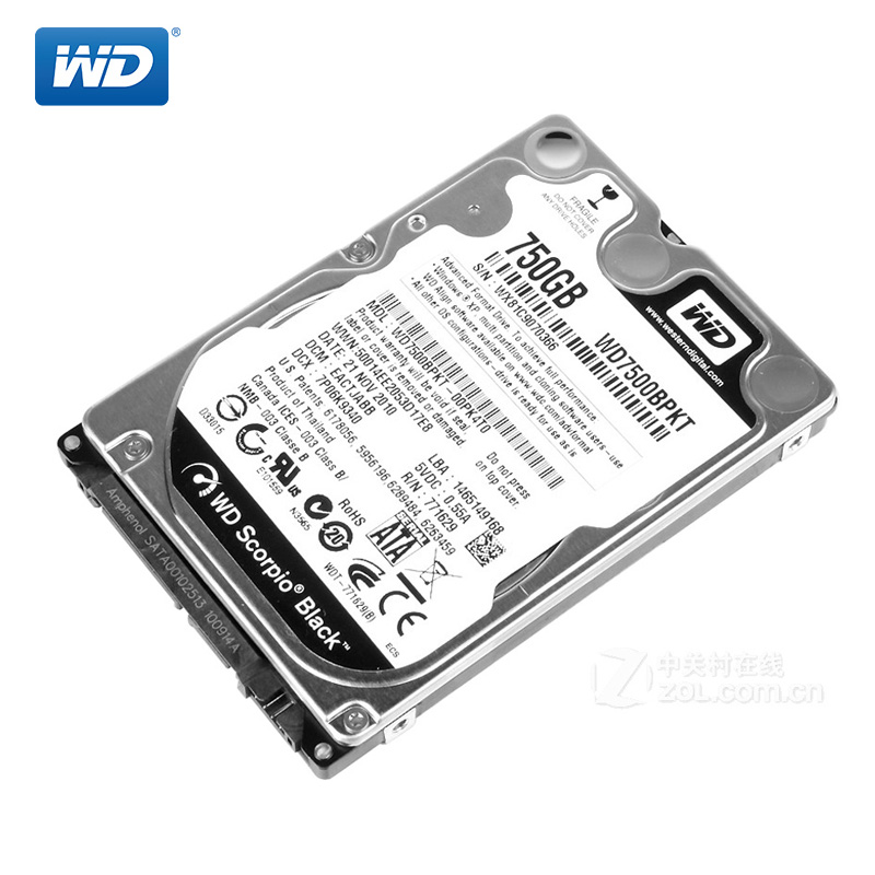 WD Black 750Gb 2.5 SATA II Internal Hard Disk Drive 750G HDD HD Harddisk 3Gb/s 16M 9mm 7200 RPM for Notebook Laptop