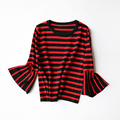 Yeeshan Flare Sleeves Sweater Women Elegant Striped O-neck Women Sweaters and Pullovers Three Quarter Sleeves Brand Autumn