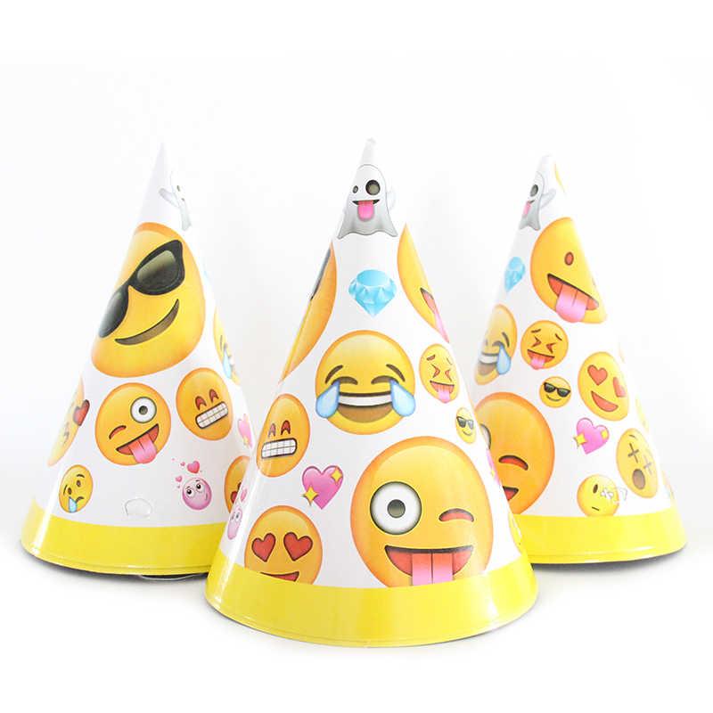 6 pçs/lote Emoji de Papel Do Partido Do Tema Dos Desenhos Animados Caps Chapéus Para Crianças Crianças Festa de Aniversário Decoração Suprimentos