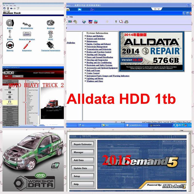Alldata 10.53 software + Mitchell 2015 ondemand + vivid workshop data+heavy truck auto repair software work for all cars & truck
