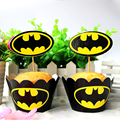 Wholesale Batman cupcake wrappers toppers picks decorations for boys kids birthday party favors supplies comic superhero A111