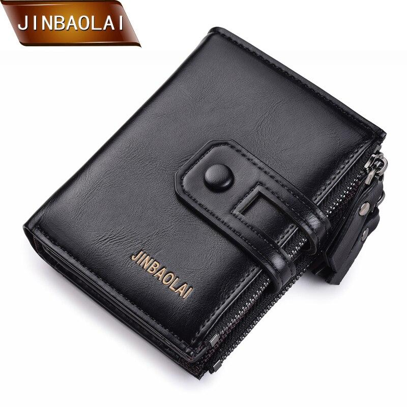 Jinbaola homens carteira marca duplo zíper & ferrolho design pequeno carteira masculina de alta qualidade curto titular do cartão moeda bolsa